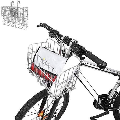 Enkrio Cestino da appendere in filo metallico con 2 ganci, cestello per bicicletta staccabile anteriore posteriore per mountain bike, accessorio per riporre la biliera, colore: argento