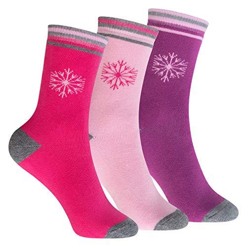 Footstar 3 Paar Kinder Thermo Frottee-Socken Variante 1 - Pink/Rosa/Lila 31-34