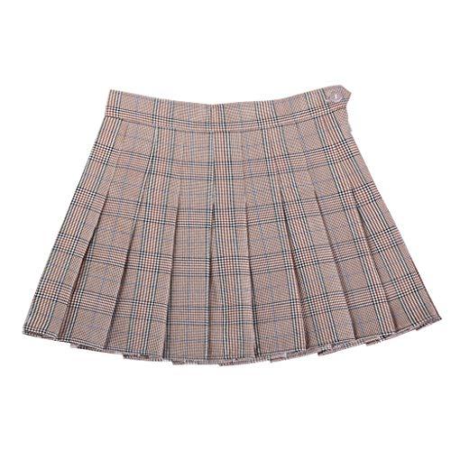 Liangcheng Frauen-Minirock, Elastische Hohe Taillen-Chic Stitching Lattice Faltenrock Art Und Weise Dünne Frauen Kurzer Rock,H,M