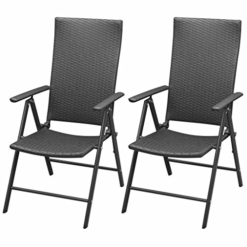 Roderick Irving Lot de 2 chaises de jardin pliantes en polyrotin Noir
