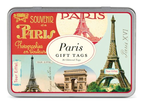 Cavallini & Co. Paris Glitter Geschenkanhänger in Blechschachtel, sortiert (36Stück)