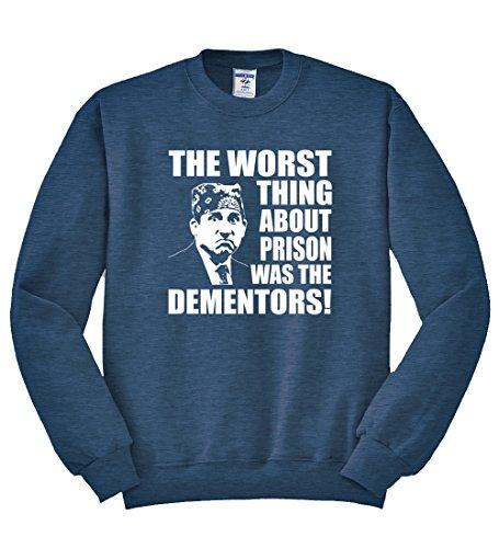 Office Prison Mike   Dementors Michael Scott   Mens Crewneck, Vintage Heather Navy, Medium