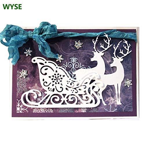 WYSE Metal Cutting Die Christmas Deer Sledding Dies for DIY Scrapbooking Paper Card Template (Deer sled)