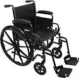 ProBasics Comfort Standard Wheelchair - Height Adjustable Seat - Flip Back Desk Arms - 300 Pound Weight Wapacity - Black - Swing-Away Footrest - 18' x 16' Seat