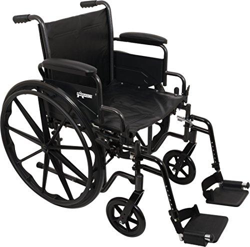 "ProBasics Comfort Standard Wheelchair - Height Adjustable Seat - Flip Back Desk Arms - 300 Pound Weight Wapacity - Black - Swing-Away Footrest - 18"" x 16"" Seat"