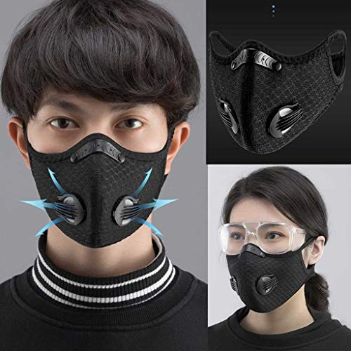 Lowest Price! Protective Mouth Face Bandana with Exhalation Valves Activated Carbon, Breathable UV B...