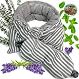 Neck Wraps Microwavable Aromatherapy & Weighted Eye Mask. Microwave Heating Pad for Neck and Shoulders by Praniva.Organic Herbs + Silk Eye Mask. Natural & Weighted Lavender Heating Pad Microwavable
