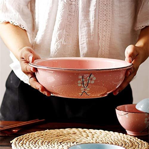 LIXUE Salade de fruits de style japonais Pasta Bowl Soupe Ramen Bowl Set Creative Céramique maison peint à la main vaisselle Micro-ondes Safe 6,5 pouces (Color : Carrot)