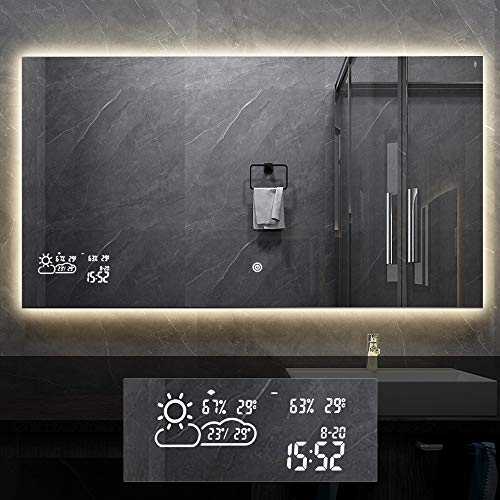 BYECOLD Smart Vanity Bathroom Mirror with Backlit LED Light Touch Switch Defogger Weather Time LED Lighted Makeup Mirror Anti Fog Mirror Bathroom Wall Mirror Horizontal - 47.2''x 23.6''