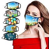 T- 5 Stücke Herren Damen Mundmasken Masken mit Easter Ostern Drucken Face Shield,Wiederverwendbar Nasenschutz Masken Gesichtschutz Mundschutz Gesichtsmasken Halstuch Schlauchtuch (C)