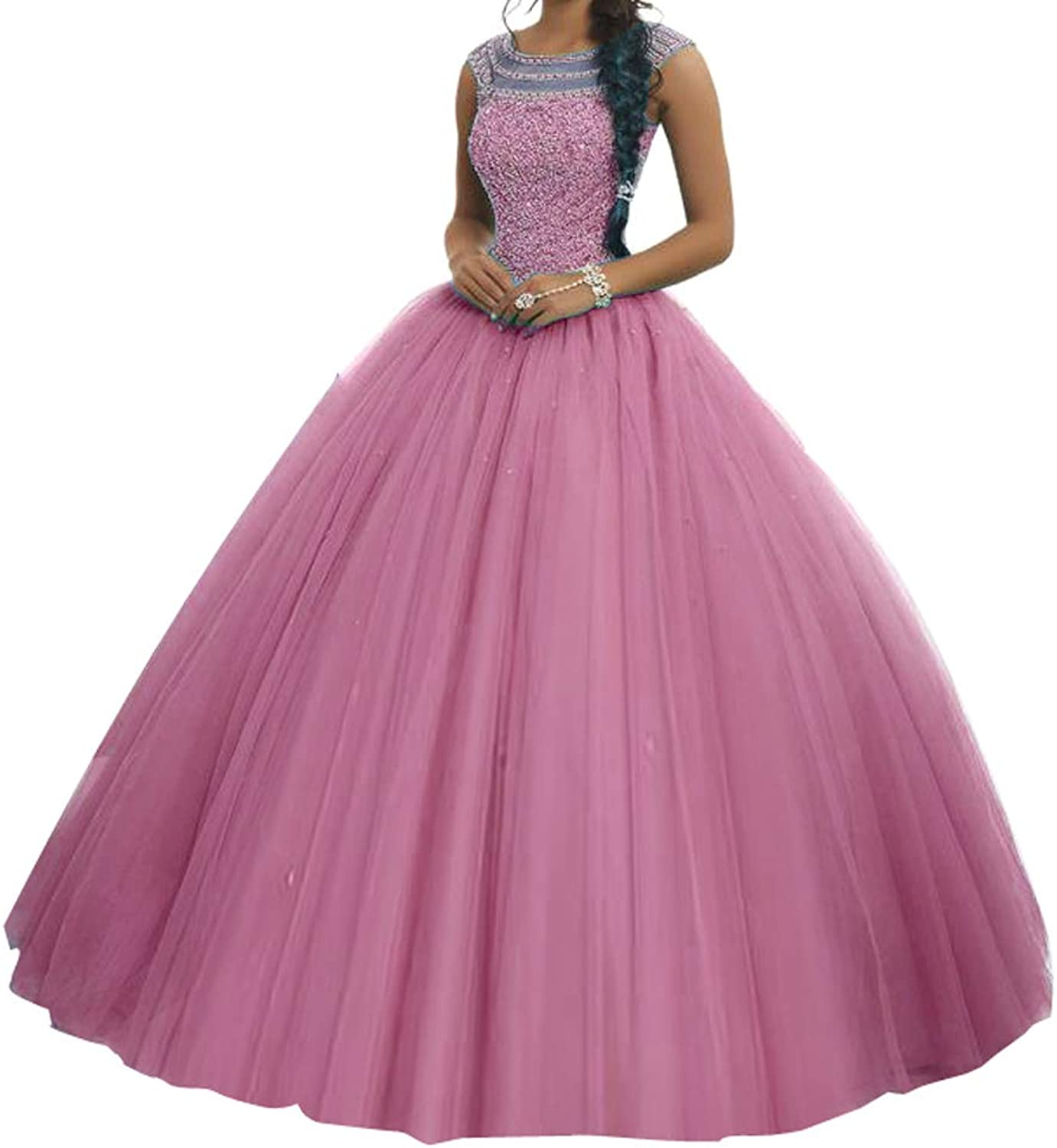 TuanYuan Girls 15 16 Boat Neck Full Beaded Ball Gowns Women Quinceanera Dresses