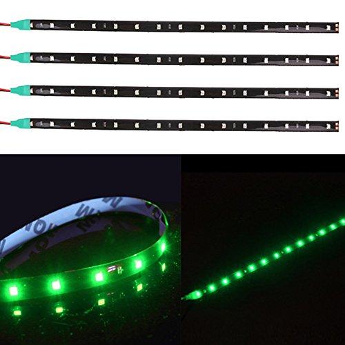 TABEN Lot de 4 bandes lumineuses LED flexibles étanches 12 V pour voiture et moto 30 cm Vert 1210-15SMD