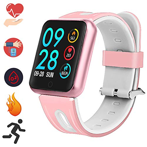 Bluetooth Smartwatch, Fitness Uhr Intelligente Armbanduhr Fitness Tracker Smart Watch Sport Uhr mit Kamera Schrittzähler Schlaftracker Romte Capture Kompatibel mit Android Smartphone (P68 Rotgold)
