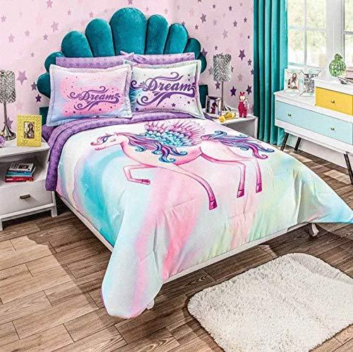 JORGE'S HOME FASHION INC Pegasus Teens-Kids Girls Reversible Comforter Set and Sheet Set 7 PCS Queen Size