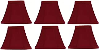 Upgradelights Red Silk 4 Inch Empire Clip on Chandelier Lampshade (Set of 6) 2.5x4x3.75