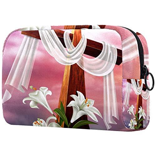 Make-up Taschen Tragbare Reise Kosmetiktasche Organizer Multifunktionskoffer Ostern-Auferstehung Kreuz Lilie mit Reißverschluss-Kulturbeutel für Frauen