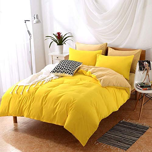 WHSS Juego de cama doble de 4, 2 fundas de almohada, 1 funda de edredón, 1 sábanas, dos tonos, cama doble