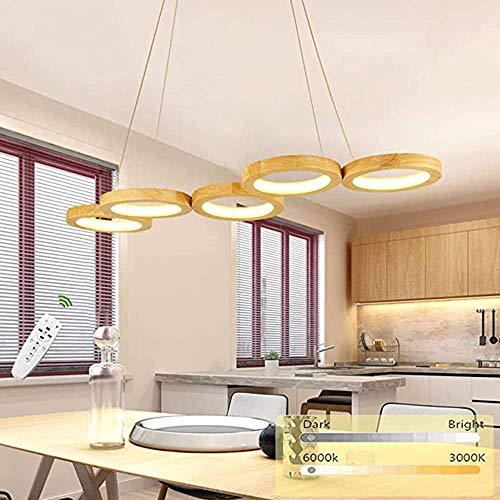 LED Ring Chandelier, dimmable, Wood, Height Adjustable, Modern Style, with Remote Control, Used in Living Room, Dining Room, Kitchen, Wood [Energy Efficiency Class A]
