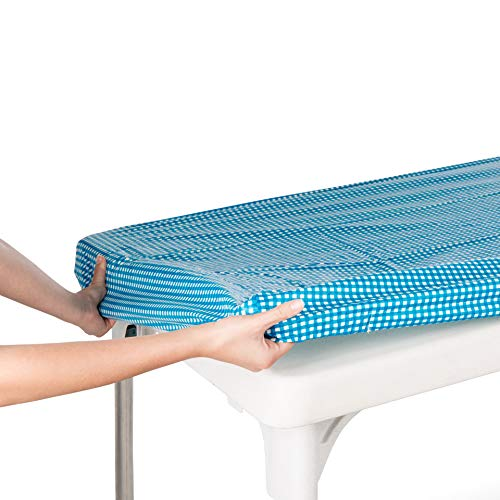 """TopTableCloth Picnic Table Cover Blue Checkered Elastic Table Cloth on The Corner for Folding Table 6ft 30""""x72"""" Outdoor TableCloths Waterproof Stay Put Party Table Covers Plastic Tablecloth Birthday"""