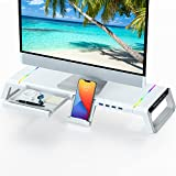 Soporte de Monitor para Escritorio RGB Gaming Lights 4 USB 3.0, TopMate Soporte de Pantalla de Computadora Plegable con Cajón de Almacenamiento, Organizador Elevador Monitor para PC/Laptop/iMac-Blanco