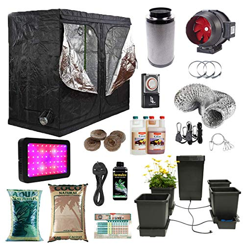 2.4x1.2x2m Grow Tent Kit with 4 Pot Autopot System Canna Coco Pebbles & Coco Twin Speed Filter Kit