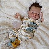 Muñeca April Reborn Baby Girl Boy, Muñecas de Vinilo Recién Nacidas de Aspecto Realista de Silicona Suave De 18 Pulgadas Y 45 Cm Juguete Hecho A Mano Para Niños Mayores de 3 Años,Silicone vinyl body