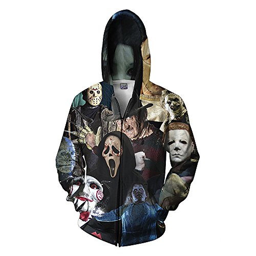 Men's Unisex Hoodies Sweatshirt Pullovers 3D Print Tracksuit Zip-up Jacket Skull 3XL