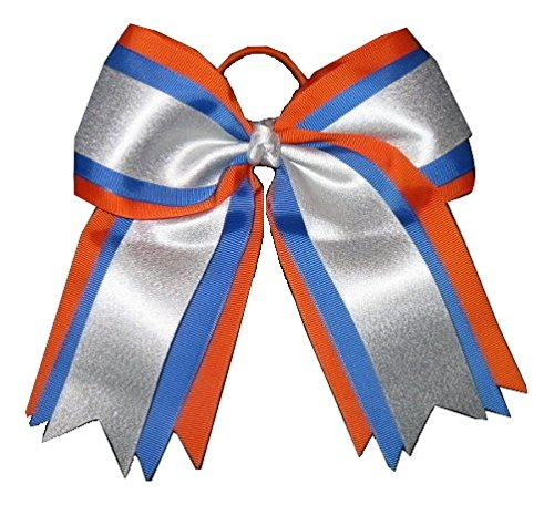 New'ORANGE BLUE SILVER' Cheer Hair Bow Pony Tail 3 Inch Ribbon Girls Cheerleading Practice Football Games Uniform Hairbow Competition
