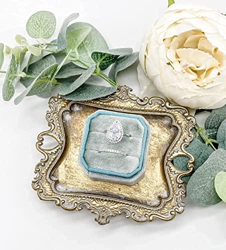 BBZZ Elegante caja de joyería octogonal vintage de terciopelo joyero pequeño para mujer, doble almacenamiento adecuado para propuestas de matrimonio, compromiso, matrimonio (champán)