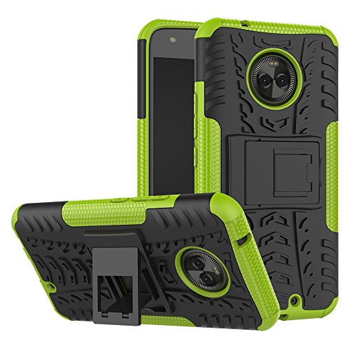 Moto X4Fall, nokea Dual Layer [Tropfen Schutz] Dämpfung Schutzhülle mit Standfuß Combo PC + TPU Rückseite für Motorola Moto X42017, Schwarz/Grün
