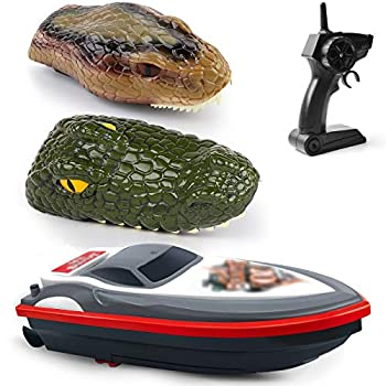 Gizmovine Remote Control Boats for Pools and Lakes Crocodile 3 in 1 RC Animal Boats with 20+ MPH Speed Low Battery Alarm,Capsize Recovery 2.4GHz Snake Head Racing Boat Gift for Kids and Adults.