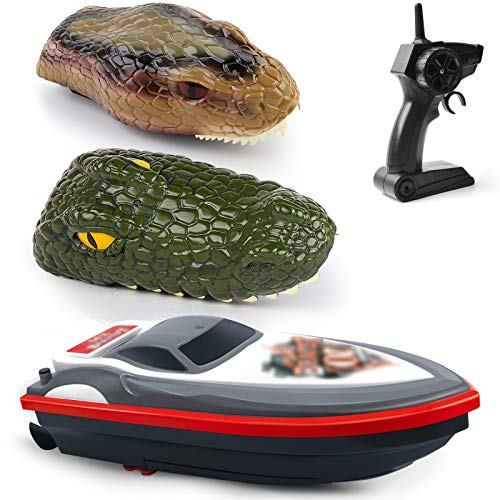 Gizmovine Remote Control Boats for Pools and Lakes, Crocodile 3 in 1 RC Animal Boats with 20+ MPH Speed, Low Battery Alarm,Capsize Recovery 2.4GHz Snake Head Racing Boat Gift for Kids and Adults.