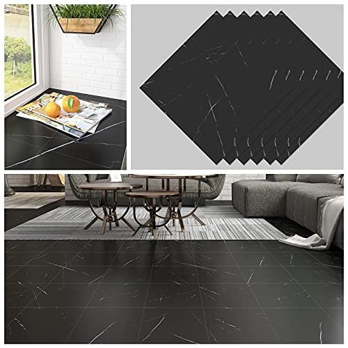 CHICHOME 12x12 Inch Peel and Stick Floor Tile Black Marble Floor Tile 6 Pcs Flooring Vinyl Tiles Thickened Wear-Resistant Self Adhesive Removable Waterproof Tile for Floor Bedroom Bathroom Kitchen