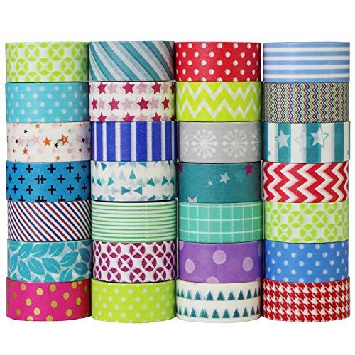 UOOOM 10 Rotolo Colorati Washi Tapes Set Decorative Nastri Adesivi Decorativi Scrapbooking DIY Craft(Pattern-1)