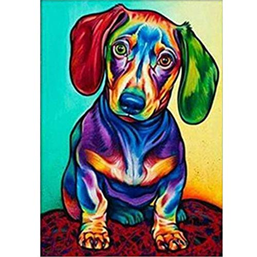 DIY 5D Diamond Painting Kit, Round Full Drill Embroidery Cross Stitch Arts Craft Canvas Supply for Home Wall Decor Adults and Kids, Colorful Dog 9.84X13.78 inches