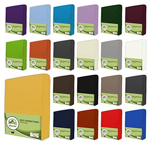 leevitex® Jersey Spannbettlaken, Spannbetttuch 100% Baumwolle in vielen Größen und Farben MARKENQUALITÄT ÖKOTEX Standard 100 | 180 x 200 cm - 200 x 200 cm - Gelb