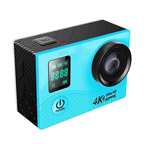 4K WiFi Action Camera with Waterproof Case, Allwinner V3 Program, 0.66 Inch Front Screen, 2.0 Inch LCD Screen, 170 Degree Wide Angle Lens,Remote Control,Blue