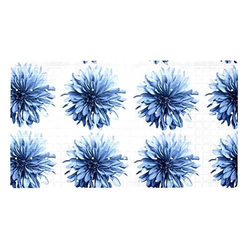 GORDESC Esterillas de baño originales para bañera (39,8 x 70,9 cm), acuarela, color azul, margarita soñadora con estampado de flores para adultos y niños, bañeras suaves y sin textura