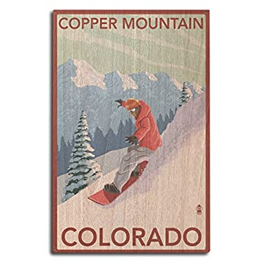Copper Mountain, Colorado - Downhill Snowboarder (10x15 Wood Wall Sign, Wall Decor Ready to Hang)