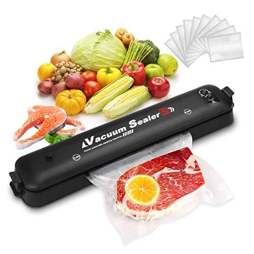 KIPIDA Vakuumiergerät, Automatisches Vakuumierer, Vakuumschlauch Folienschweißgerät, Bleiben Vakuumiert für Lebensmittel Fleisch Bleiben Gemüse, bis zu 10x Länger Frisch-mit 15 Vakuumierbeutel