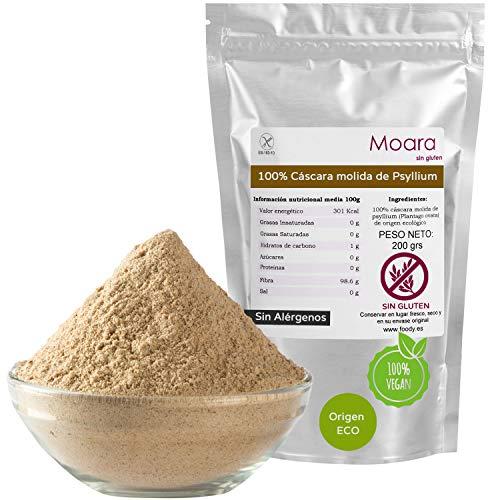 Cáscara de psilio rubio en polvo - Fibra de plantago ovata molida - Organic psyllium husk fibre powder 200g - Producto ecológico y sin aditivos - Ideal para hacer pan sin gluten