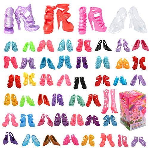 Fashion Barbi Doll Shoes Accessories - 50 Pairs 11.5 Inch Doll Shoes Colorful High Heel Boots Flat Shoes Sets - Barbi Doll Accessories Fits 11.5'' Fashion Girl Dolls Mix Match Doll Clothes Girls Gifts