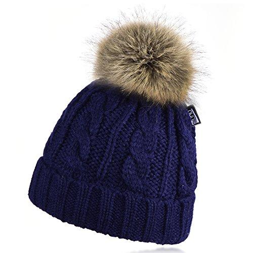 Miuno Berretto invernale con pon pon in pelliccia sintetica con fodera in orsacchiotto MJ162 blu navy Taglia unica