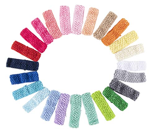 Crochet Headband- 24-Pack Elastic Headband, Head Wraps, Yoga Headband, Hair Hoops, Perfect Fashion Accessory for Women, Girls, Toddlers, Teens, 24 Assorted Colors, 1.625 x 5.625 Inches