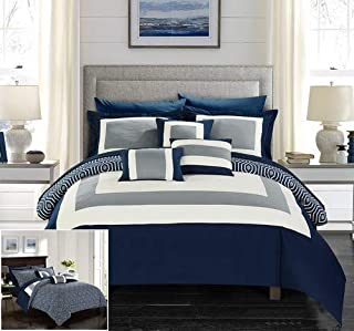 Chic Home Jake 10 Piece Comforter Set Reversible Hotel Collection Color Block Geometric Pattern Print Design Bed in a Bag Bedding – Sheets Decorative Pillows Shams Included Queen Navy