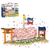 Myste Túnel romántico diseño de Sakura con luz LED, 916 piezas, modelo de paisaje con flores de cerezo con placas base, arquitectura casera, compatible con casa de árbol de Lego