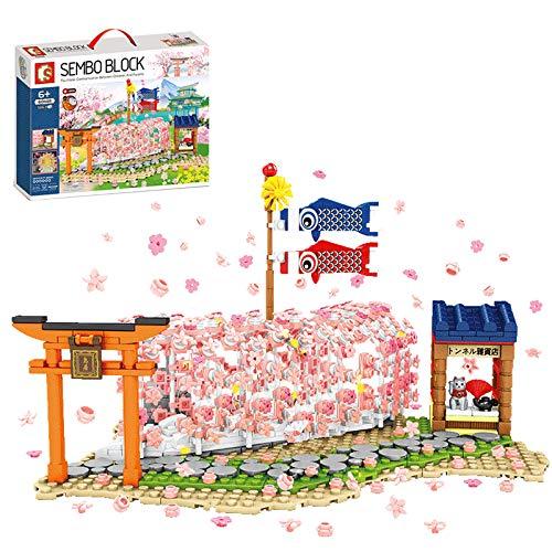 xSuper Kersenbloesem Tunnel Lanscape met LED-verlichting, basisplanken Romantische Sakura Boom Bouwstenen 916 Stks Japanse Stijl Modulaire Sets voor Kinderen Volwassenen Compatibel met Lego Treehouse