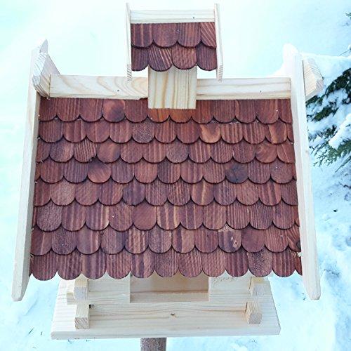 Großes XXL Vogelhaus Schreinerarbeit Futterhaus Vogelhäuschen — Wetterschutz lasiert — Blockhaus Holz Vogelhäuser (Braun) - 2