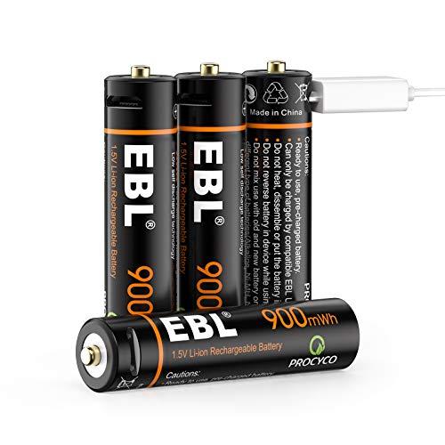 EBL 1.5V USB AAA Batterie Ricaricabili con Micro USB Cavo, Pile Ricaricabili da 900mWh, Confezione da 4 pezzi