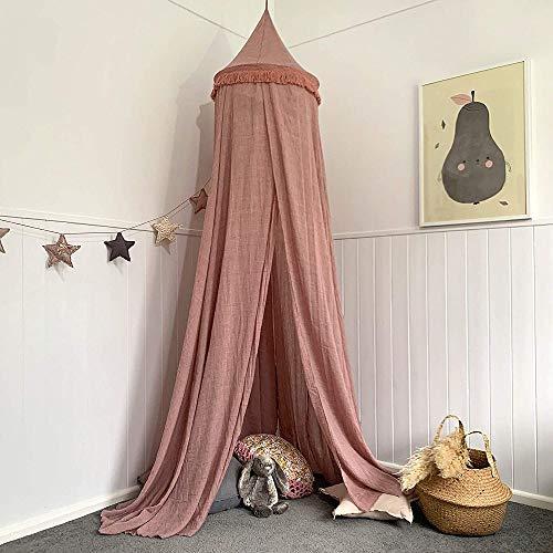 HGA Teepee para Niñas Mejor para Decoración Sala Juegos para Niños Tipi para Niños Bebé Princesa Cama Dosel Cubierta Cama Mosquitera Cortina Ropa Cama Tienda Campaña,Pink